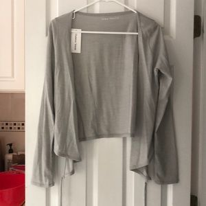 Outdoor Voices merino wrap top in light gray - NWT